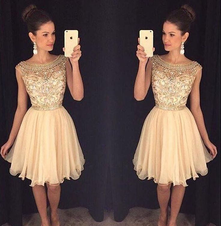 Gold 2017 Homecoming Dresses A-line Cap Sleeves Chiffon Beaded Crystals Short Mini Cocktail Dresses
