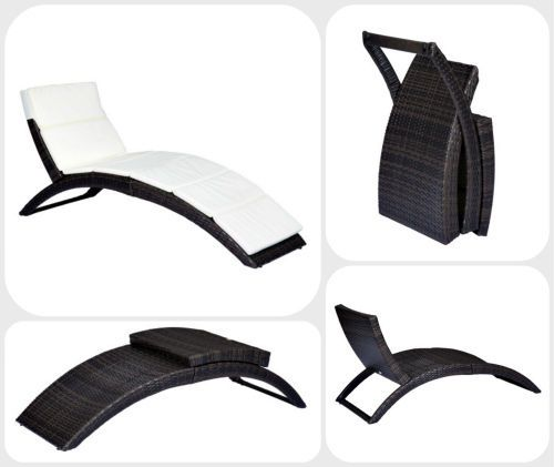 Rattan Sun Lounger & Cushion Pad Patio Folding Sun Bed Garden Pool Furniture #Outsunny