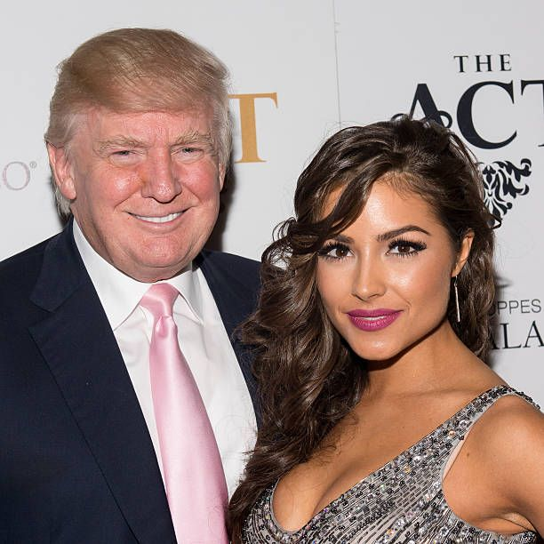 Donald Trump and Miss Universe 2012 Olivia Culpo attend Emin USA launch of single 'Amor' party at The Act at The Palazzo Las Vegas on June 15 2013 in...