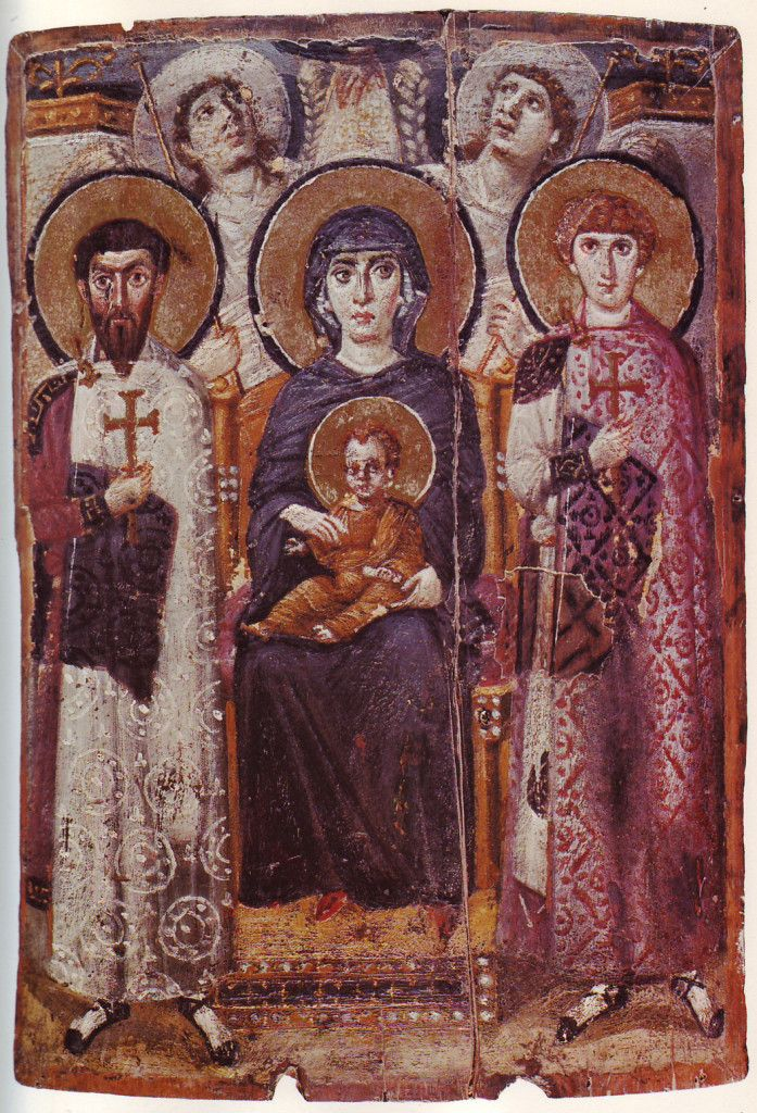 This image can be found at St. Catherine's Monastery near Mt. Sinai and is dated to the 6th century. Around Mary and Jesus are St. Theodor of Amasea, St. George, and two angels. Notice also the hand at the top of the image (God the Father?).