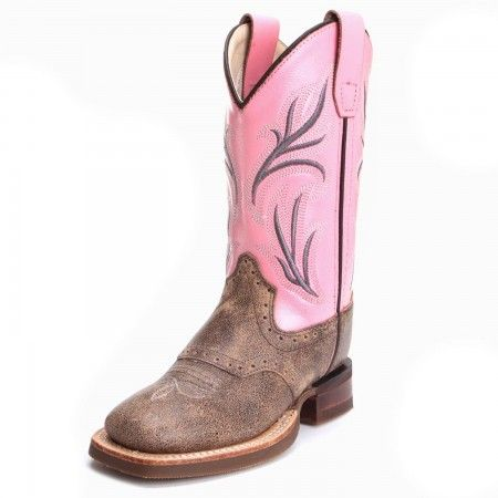 Old West Childrens Girls Distressed Square Toe Cowboy Boots Pink