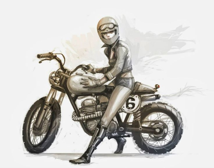 Los Angeles toy designer and artist Viet Nguyen's awesome motorcycle art featuring striking women.