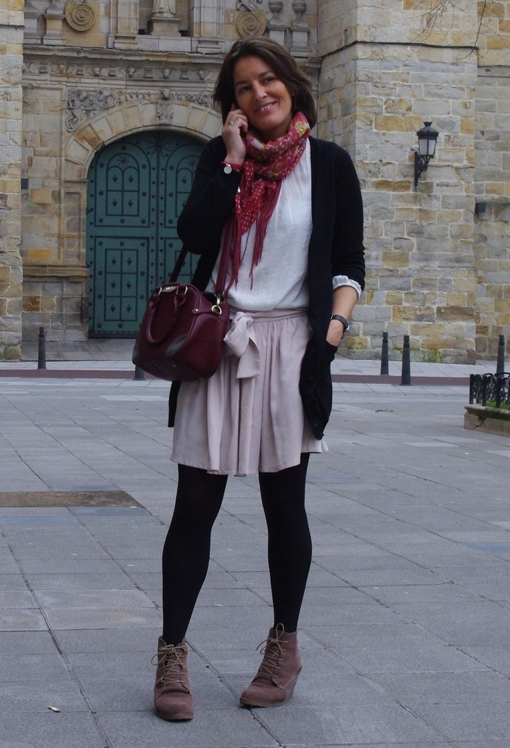 Look 13  #fashion #style #outfit  #look , LAS PEPAS in Skirts, Zara in Shirt / Blouses, Sita Murt in Cardigans, Dayaday in Scarves / Echarpes, Nice Things in Bags, Mohino in Ankle Boots / Booties