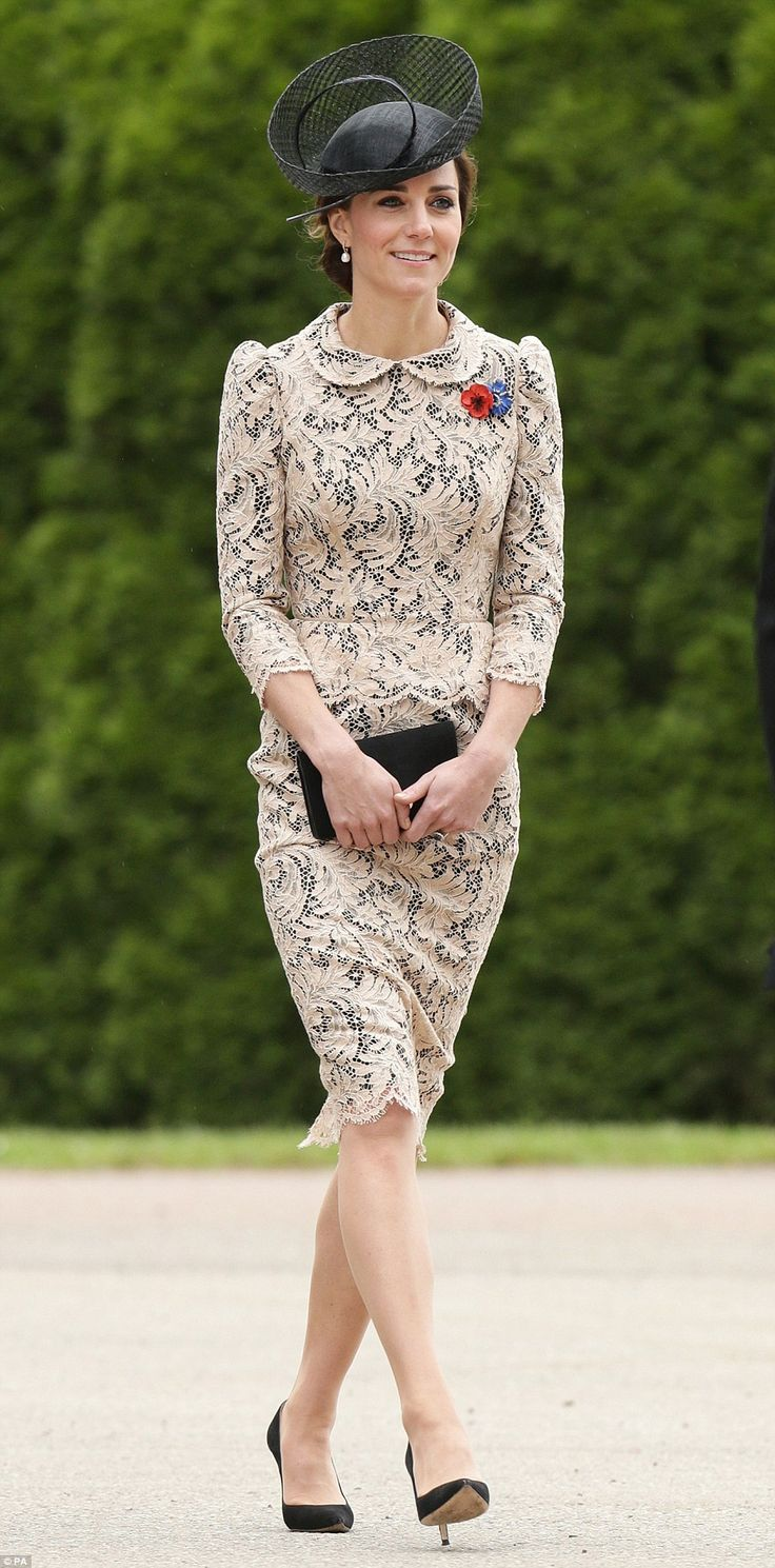 July 1, 2016. Thiepval, northern France. The Duchess of Cambridge looked chic in a bespoke cream lace peplum dress as she joined William at a service to mark the 100th anniversary the battle of the Somme