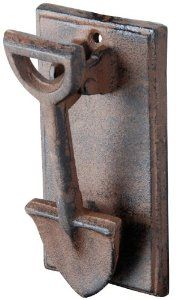 Esschert Design DB55 Cast Iron Spade Doorknocker by Esschert Design. $14.99. Cast iron traditional doorknocker with decorative garden shovel design. Has two predrilled holes for hanging. Looks great with any color decor. We give the traditional cast iron doorknocker a twist with this cute garden spade design. The antique rust finish goes with almost any decor and the cast iron construction gives it durability to hold up to the elements. Your guests will enjoy us...