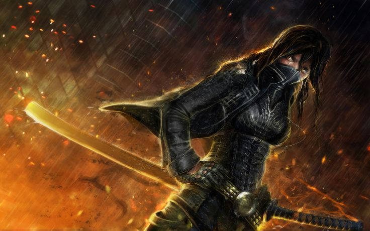 (1280×800) I pretty much loved everything about this image except the sword I believed it was a bit unrealistic big. I really love the armor she is wearing as it kind of makes her appear like a samurai ninja. That being said my  character father was a samurai while her mother is a ninja so I like the way this image embodies both the qualities of the samurai and ninja. I also liked the dangerous look in her eyes which pretty much said i'll kill you.