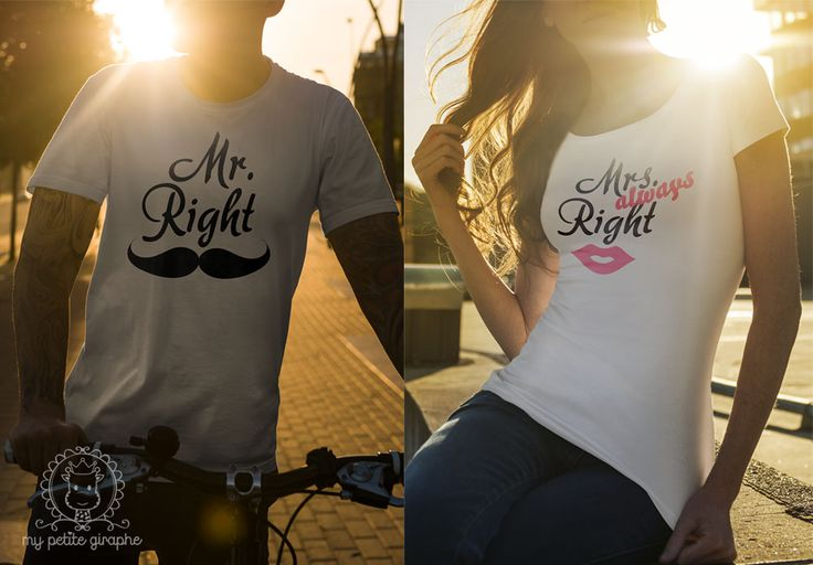 Mr. Right and Mrs. 'always' Right T-shirts  Buy here:  http://www.zazzle.com/mr_right_tshirt-235407784576253267  http://www.zazzle.com/mrs_right_shirt-235258976710015300  #mrright #mrsright #tshirt #mrsalwaysright #alwaysright #woman #gifts #forher #forhim #funny #couple