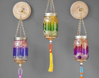 Bohemian Mason Jar Lantern Tangerine Glass with Gold by LITdecor
