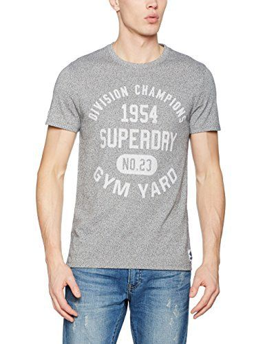 Superdry Men's Gym Locker T-Shirt This cool and comfortable t-shirt from Superdry features large brand graphic text printed onto the chest and a raised brand graphic badge to the sleeve and hem. This garment is short sleeved with a ribbed neckline. It is made from 50% Cotton, 50% Polyester and is machine washable. Superdry style code – M10000FO-AL8Crew neckShort SleeveFaded brand text on the chestBrand badge on the left side hem and right sleeveMachine washable  7 for