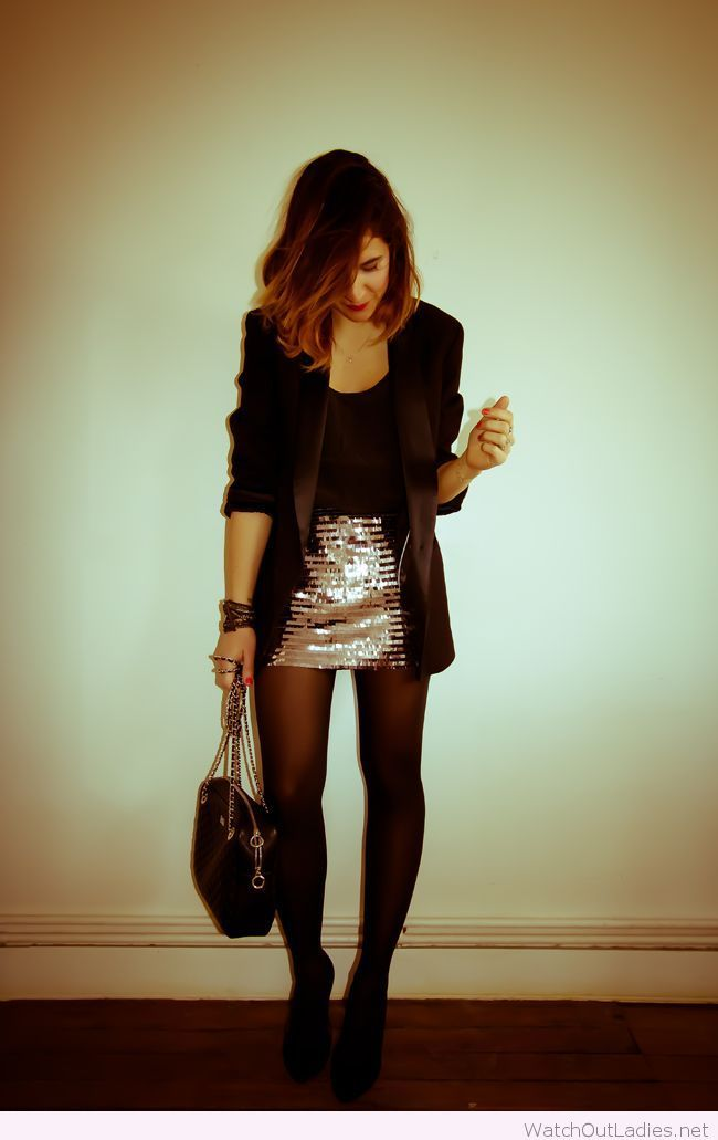 Silver glitter skirt, black top and blazer