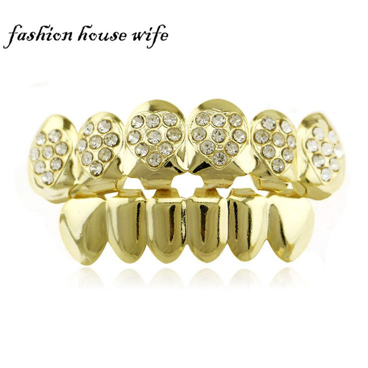 Fashion House Wife Copper Grillz Gold/Silver Heart Shape Rhinestone Top Teeth Smooth Plane Bottom Teeth Caps Halloween NL0048