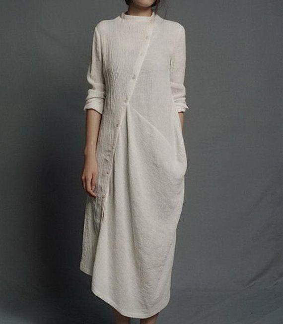 Slanting Buttons Irregular Hem Long-sleeved Linen Dress by zeniche