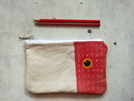 red hand painted pencils pouch handmade in cotton  by vumap
