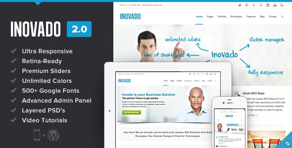 Inovado is an ultra responsive, retina-ready WordPress Theme that everybody wants. It's an incredible premium theme with powerful customization settings that helps you transform Inovado into your unique business tool. Inovado is very intuitive to use and completely ready to operate out of the box.
