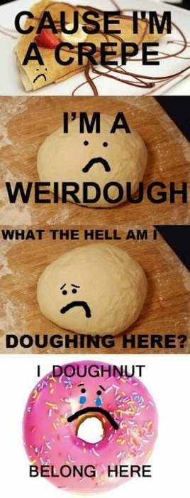 Stupidest bit of funny ever.: Laughing, Puns, Crepes, Songs Hye-Kyo, Funny Stuff, Food Humor, So Funny, Foodhumor, Radiohead