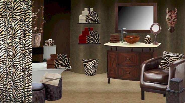 Mocha Zebra Bathware  Shower Curtain, Towels, Accessories