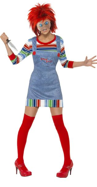 Chucky Costume, includes Jumper, Dungarees, Mask and Wig.  Come to life as the female version of the evil doll from horror film Chucky. Complete your look and get a friend to go to your Halloween party as our male version of this costume! £28.95