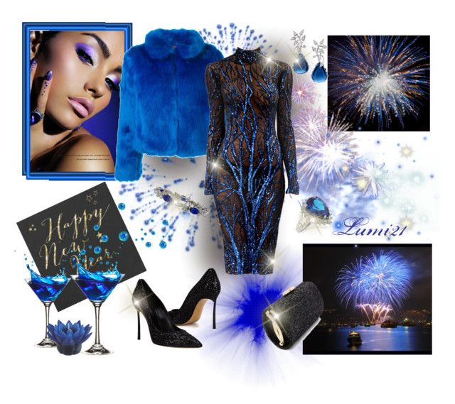 new year evening with zuhair murad by lumi-21 on Polyvore featuring n:PHILANTHROPY, Casadei, Van Cleef & Arpels, Zuhair Murad, Brumani, ZuhairMurad, NewYearsEve and fierceWinter