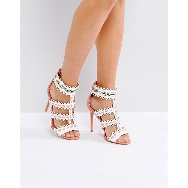 Forever Unique Zig Zag Weaved Strap Heeled Sandal (118 CAD) ❤ liked on Polyvore featuring shoes, sandals, cream, zip back sandals, prom shoes, heeled sandals, cream sandals and strappy high heel sandals
