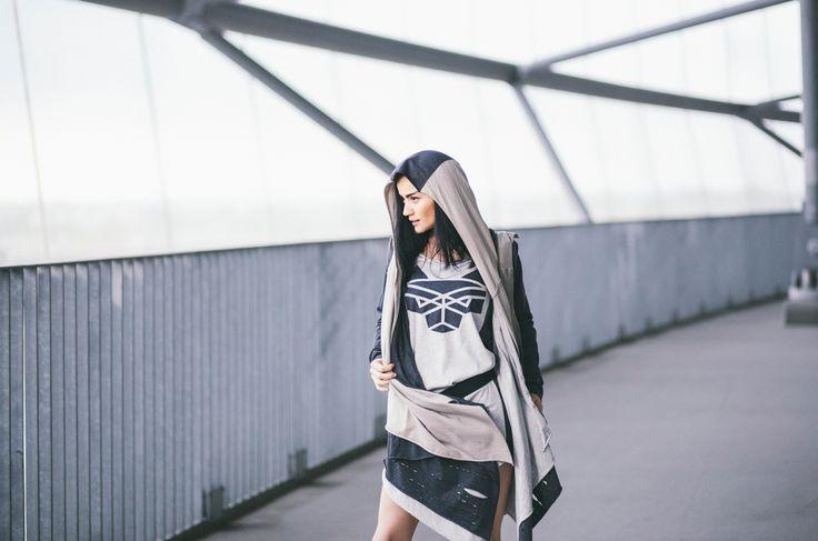CUB lookbook spring/summer 2014 #polishfashion #fashion #cub #cub_wear #summer #cotton #natural #wild #grey #black #girl #concrete #industrial #look #city #dress #free #warior #wolf #logo #tunic #move #wildspirit