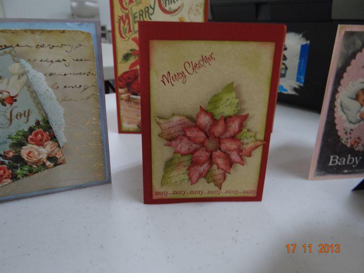 Christmas card, Poinsettia