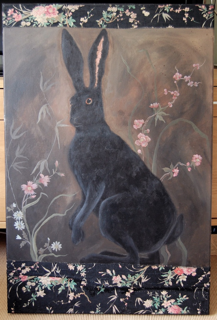 rabbit with pink flowers