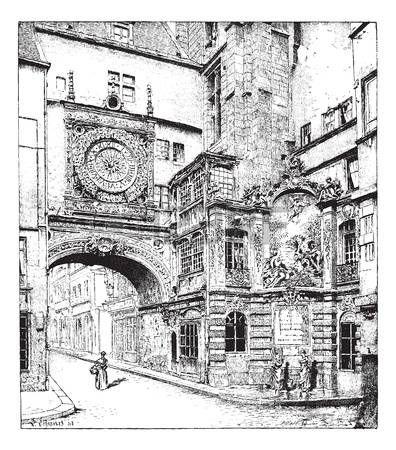 Руан, большие часы, Нормандия, Франция, старинные гравированные иллюстрации. Словарь слов и вещей - Larive и Флери - 1895. photo