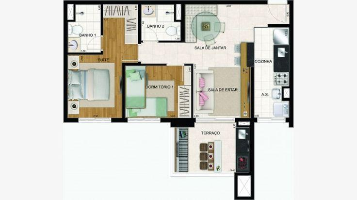 Apto de 68 m² c/ 2 dorms. (1 suite)