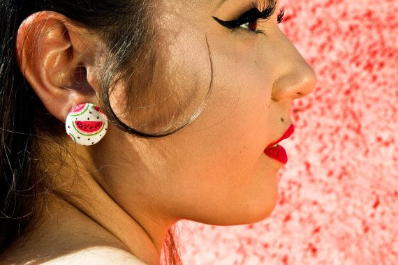 Summer Watermelon Button Earrings.