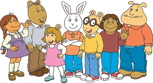 Arthur and his crew: Muffy, Brain, D.W., Buster, Arthur, Francine, Binky