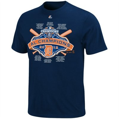 Majestic Detroit Tigers 2012 MLB American League Champions Youth Roster T-Shirt - Navy Blue