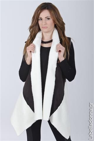 Labelladonna.gr - Ζακέτα ασπρόμαυρη με γούνα No doubt