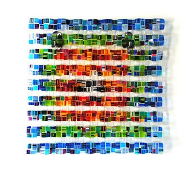 """""""Retro Mesh"""" 30x30"""", glass wall hanging by Renato Foti. Available at Crescent Hill Gallery in Mississauga, ON"""