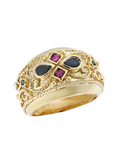 Δαχτυλίδι Βυζαντινό Χρυσό 9Κ σε Κίτρινο Χρώμα Αναφορά 020308 Δαχτυλίδι βυζαντινό από Χρυσό 9Κ σε κίτρινο χρώμα στολισμένο με συνθετικές πέτρες σε μαύρο,πράσινο και κόκκινο χρώμα.