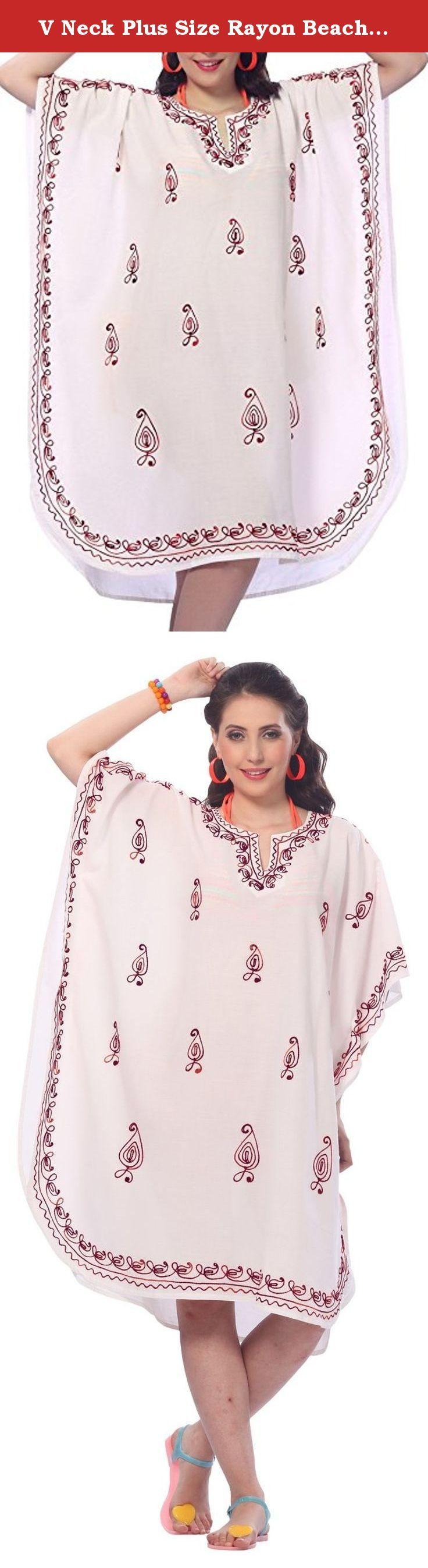 "V Neck Plus Size Rayon Beach Tunic Embroidered Women Short Lounge Caftan Red Valentines Day Gifts 2017. Description:- ==> Welcome to LA LEELA ==> Enjoy Beach, Breeze and Nature with La Leela's ""VIBRANT BEACH COLLECTION"" and stay calm and classy! . ==> Fabric : DELICATE DESIGNER EMBROIDERED LIGHTWEIGHT SMOOTH RAYON FABRIC US Size : From Regular 14 (L) TO Plus Size 28W (4X) ➤ UK SIZE : FROM REGULAR 14 (M) TO 30(XXXL) ➤ BUST : 56 Inches [ 142 cms ]➤ Length : 43 Inches [ 109 cms ]…"