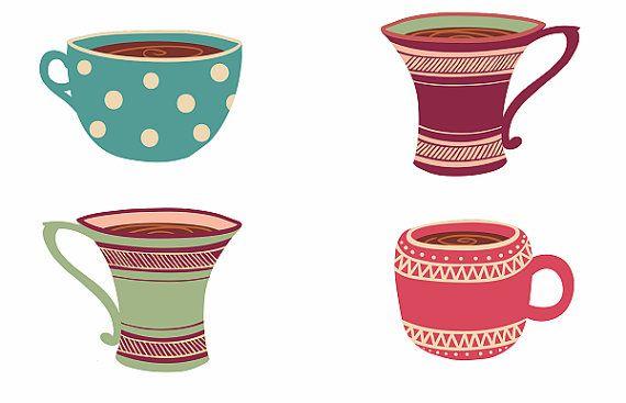Cup print tea coofee tazas kitchen art kitchen por Ilustracionymas