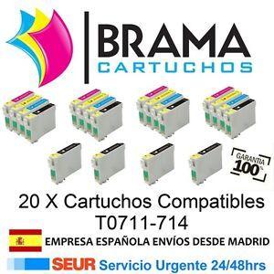 a 20x cartuchos compatibles nonoem epson stylus t0711 714 sx110 sx115 sx200 sx205
