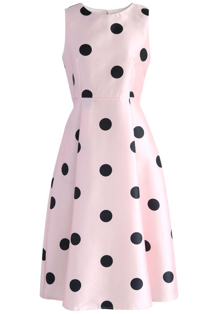 Pretty Dots Printed Midi Dress in Pink - New Arrivals - Retro, Indie and Unique Fashion