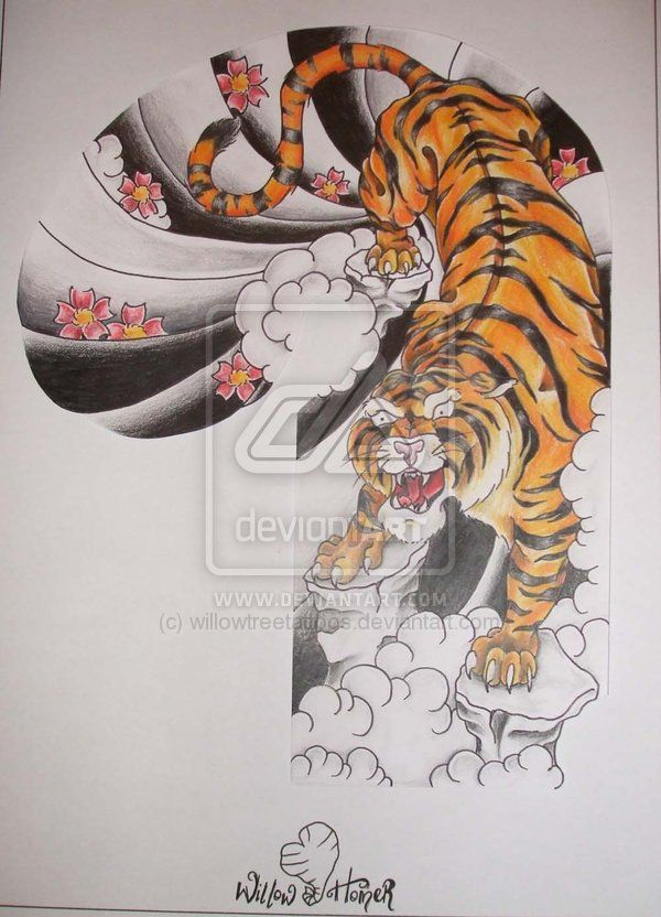 Japanese Tiger Art | japanese tiger half sleeve by willowtreetattoos