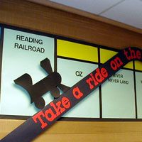 Central Elementary School || Library || Theme Page {Cute use of theme for library displays.  However Take a Ride on the Reading Railroad, inspired me to do a railroad based theme supporting US Studies I class during the railroad unit leading to the Men Who Built America!}