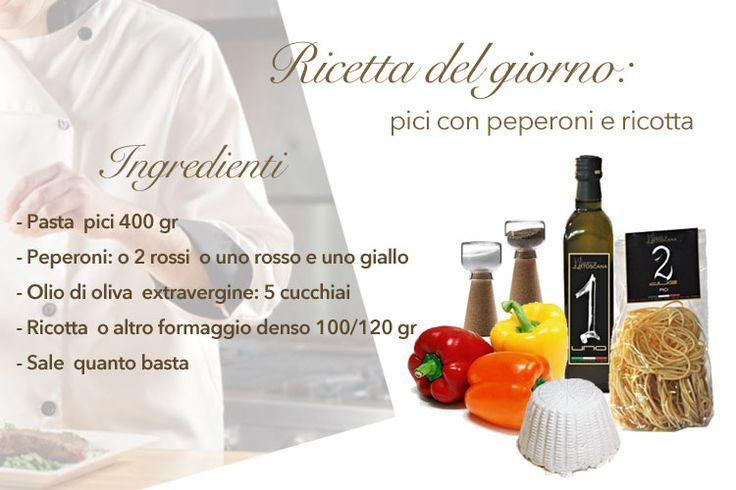 Idea semplice e veloce per il pranzo di oggi! La #pasta e l'#olio rigorosamente Gusti di #Toscana, peperoni bio, ricotta del contadino e il pranzo è servito. Scopri la ricetta: http://bit.ly/1xQJC4h #madeinitaly #dietamediterranea #cicinaitaliana #Tuscany