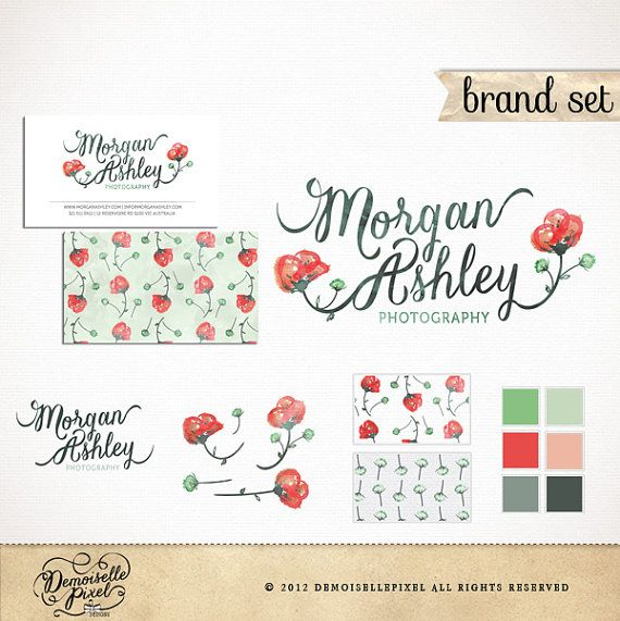 Brand Identity Package Custom Premade Logo Set / Calligraphy Watercolor Poppies / with Business Card