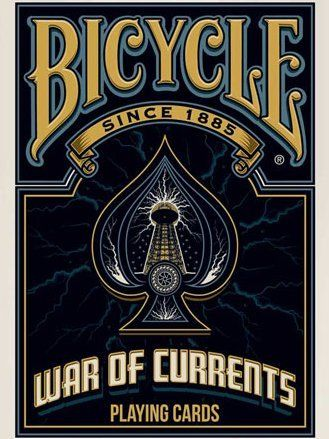 Bicycle War of Current Playing Cards by Bicycle. $13.99. It started with one question: Why doesn't everyone know who Nikola Tesla is? The 'War of Currents' shaped our everyday way of life. From the light bulbs in your home to the wireless internet at the local cafe. History books in schools are riddled with Thomas Edison's greatest moments, so where is Nikola Tesla? Why don't more people know about the 'War of Currents'? The goal was to design a deck of cards that prov...