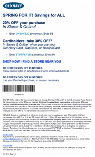 Old navy in store coupon code