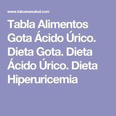 Tabla Alimentos Gota Ácido Úrico. Dieta Gota. Dieta Ácido Úrico. Dieta Hiperuricemia