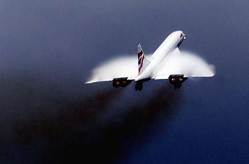 Concorde - first supersonic aircraft.  Those sonic booms were pretty loud if you weren't expecting them!