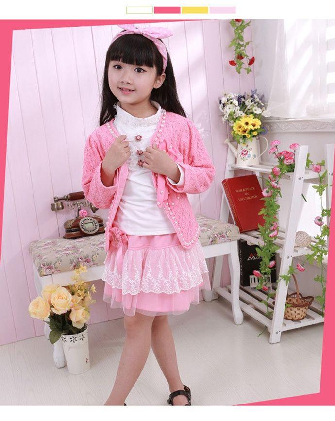 22.24$  Watch here - http://aliwqn.shopchina.info/go.php?t=32353842839 - baby girl clothing suit fashion hot sale girl clothes brand white T-shirt + Coat pink + Skirt lace princess roupa infanti menina  #buyininternet