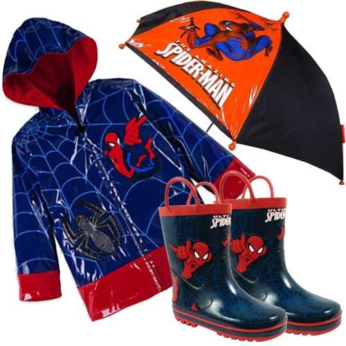 Spiderman Raincoats Boots and Umbrellas. What would a Spiderman loving toddler want for Christmas this year? How about a Spiderman rain gear gift set? Spiderman rain coats, rain boots, and umbrellas are for sale below.  If your little boy (or a tod