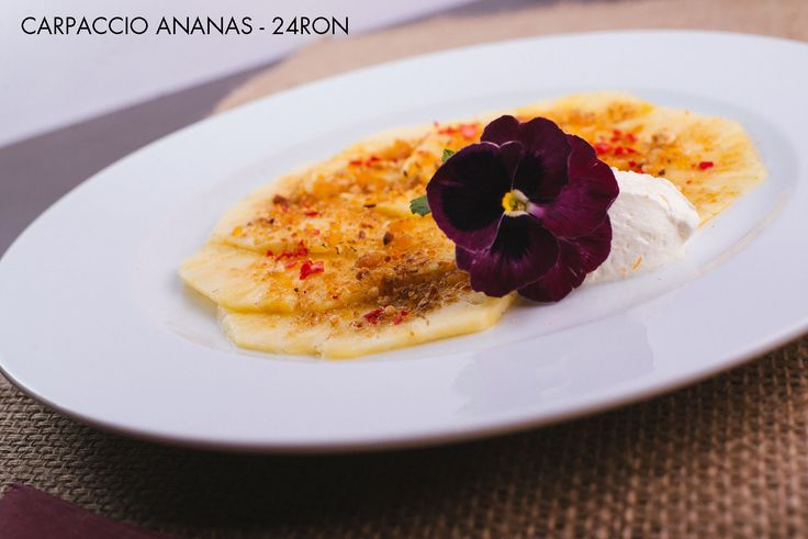 Pineapple Carpaccio - Freshly sliced pineapple with a thin caramelised crust