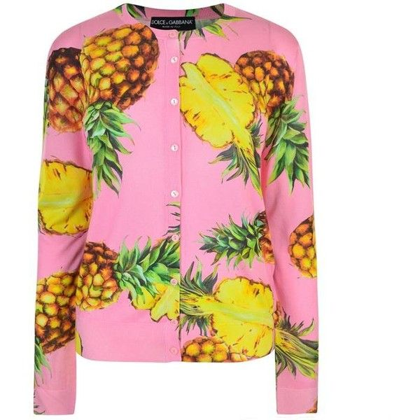 Dolce And Gabbana Pineapple Print Cardigan ($1,025) ❤ liked on Polyvore featuring tops, cardigans, rosa, pineapple top, silk cardigan, silk tops, pink long sleeve top and pink silk top